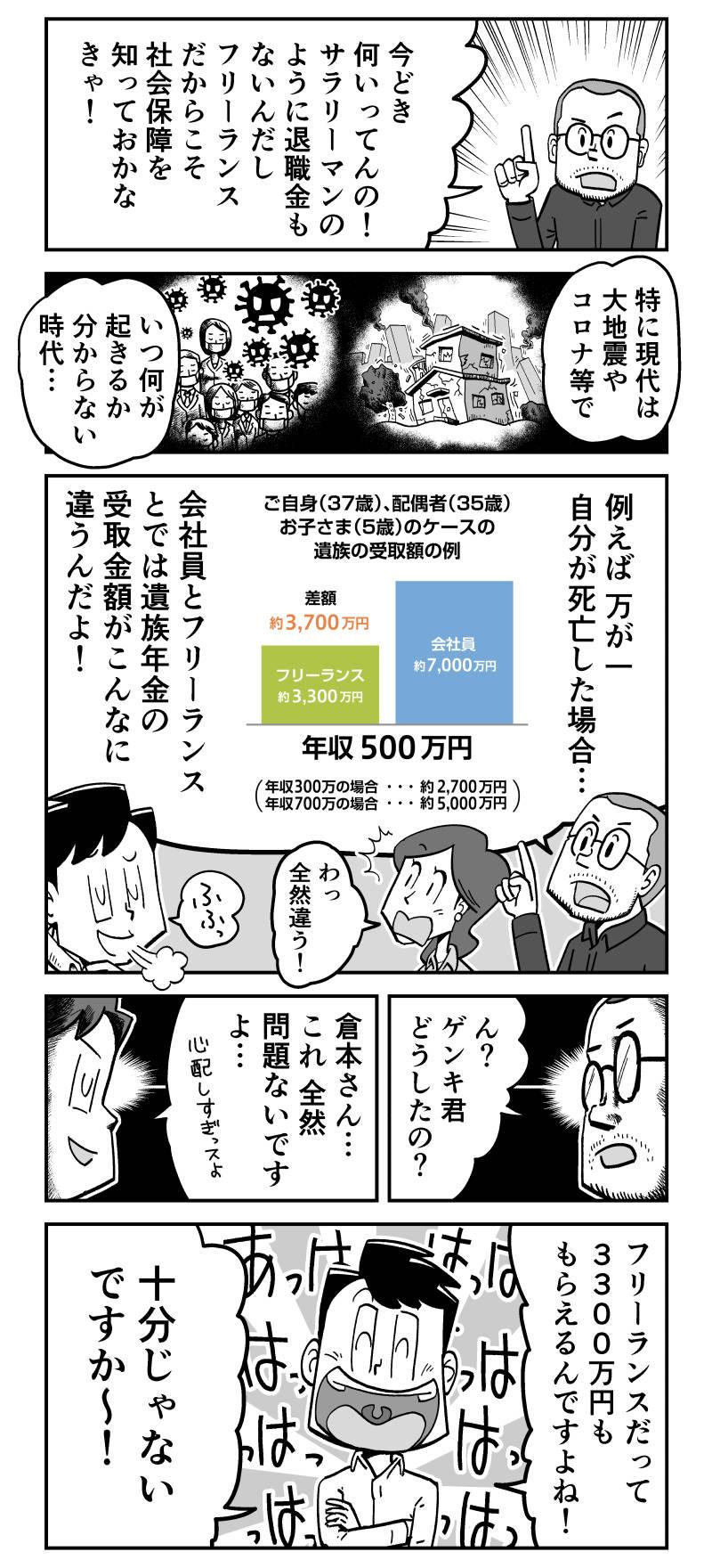 【PR漫画】フリーランスの保険はエヌエヌ生命で決まり!【自営業 遺族年金 漫画 広告】 フリーランス